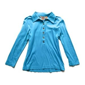 Tory Burch Turquoise 3/4 Sleeve Casual Knit Polo
